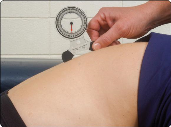 Figure 6.2 Goniometers similar to a carpenter level are called gravity-dependent goniometers, or inclinometers, and are used most often to measure motion in the spine.