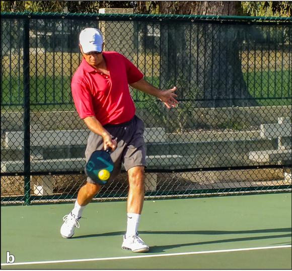 Figure 4.3 The forehand drive serve: () preparation, () contact, and () follow-through.