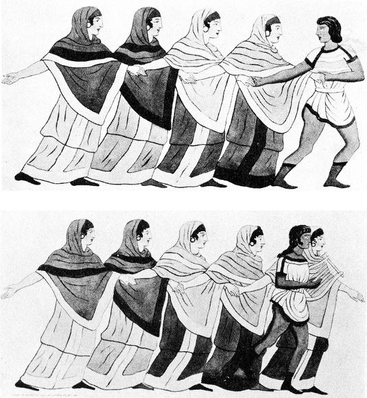 Greek dance ca. 400 BCE from a tomb painting.
