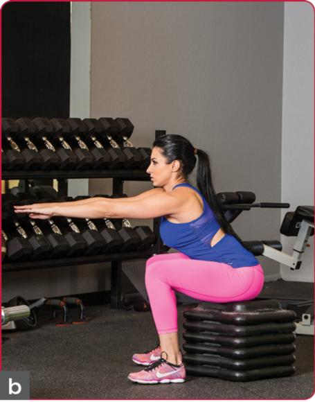 Figure 8.2 Bodyweight box squat: () starting position; () squat.