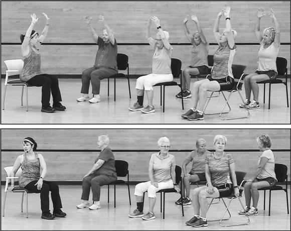 Older adult group exercise class.
