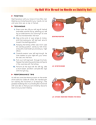 Hip roll with thread the needle on stability ball