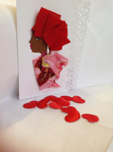 Red Handmade card with pearl dangling earing. Beautiful side view