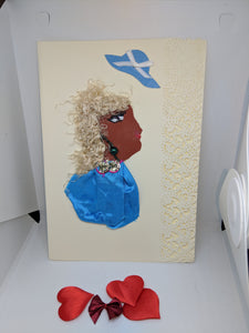 Card with a Blonde haired woman  wearing blue, with hat flying off.