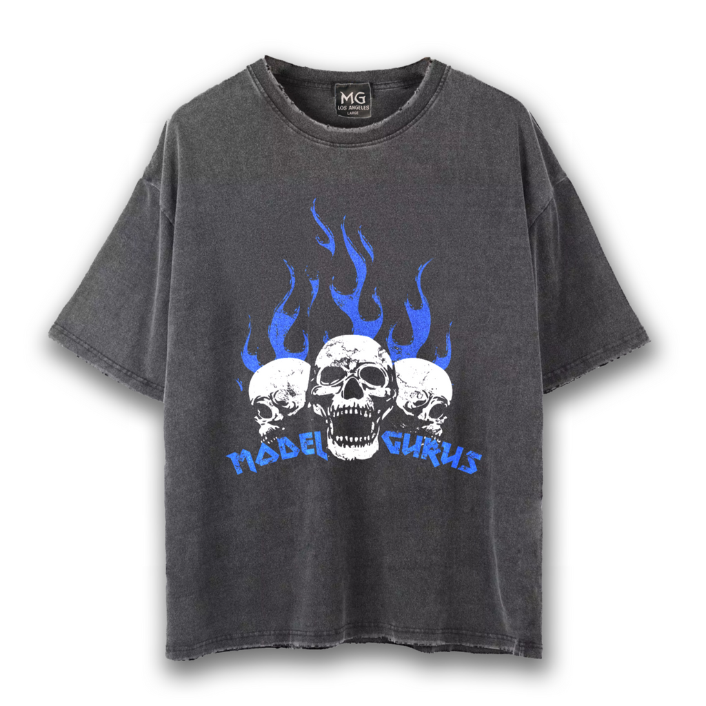 """Blue Flaming Skulls"" Vintage Tee"