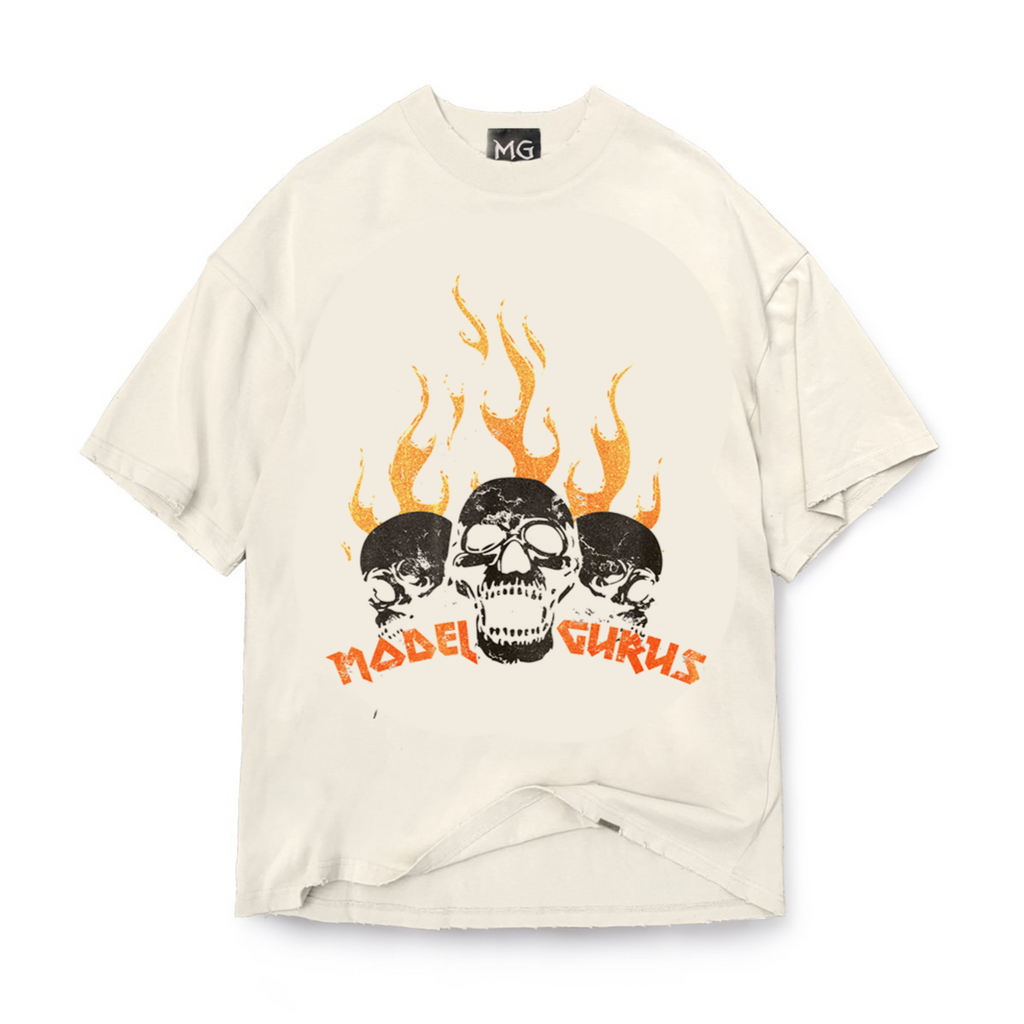 """Orange Flaming Skulls"" Vintage Tee"