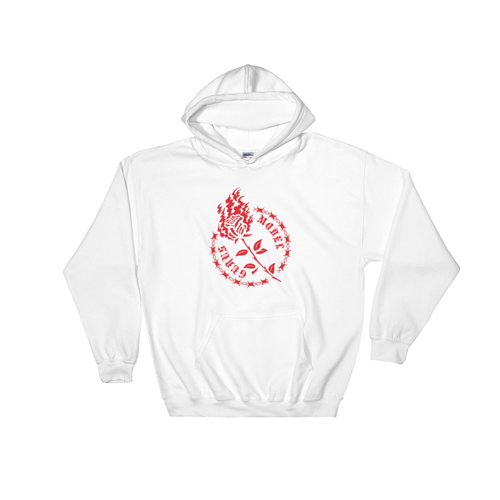 """Flamed Flower"" Hoodie - White, Black - Model Gurus Inc."