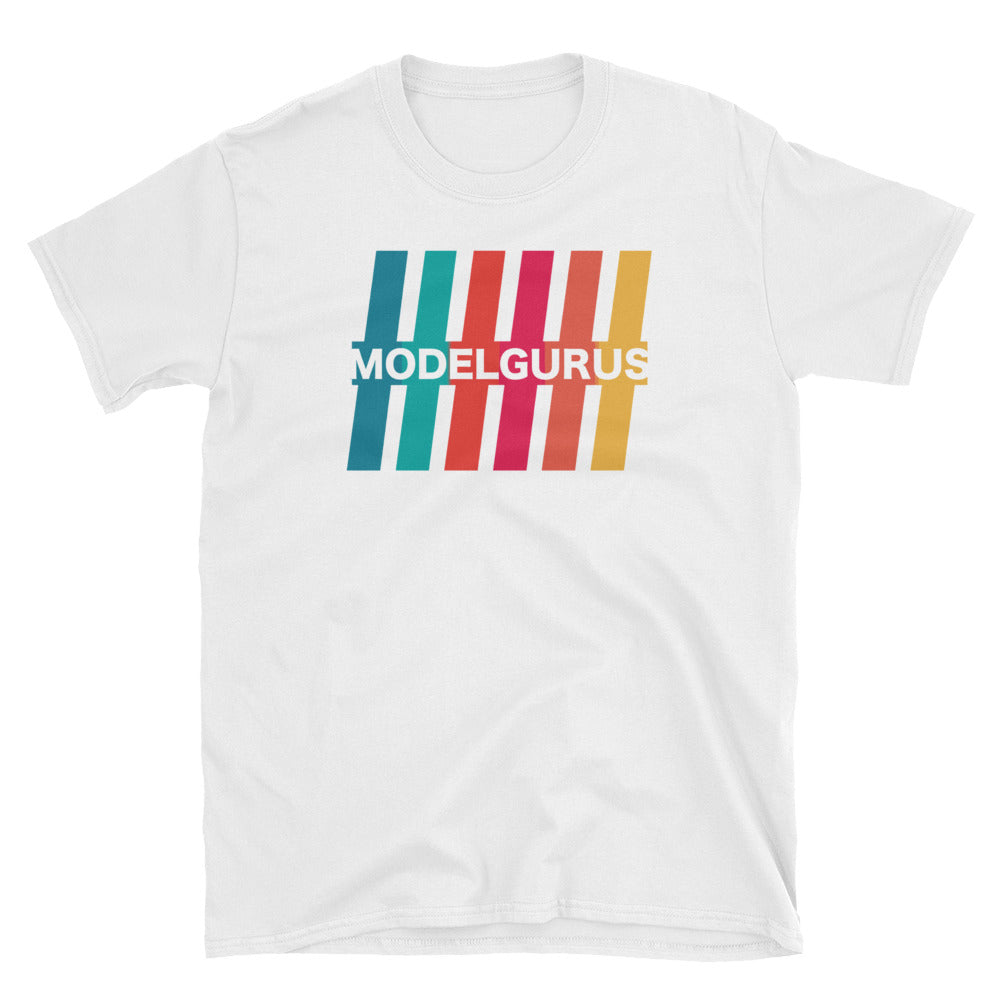 """Retro Stripes"" - VHS Collection T - Shirt -  White, Black, Navy - Model Gurus Inc."
