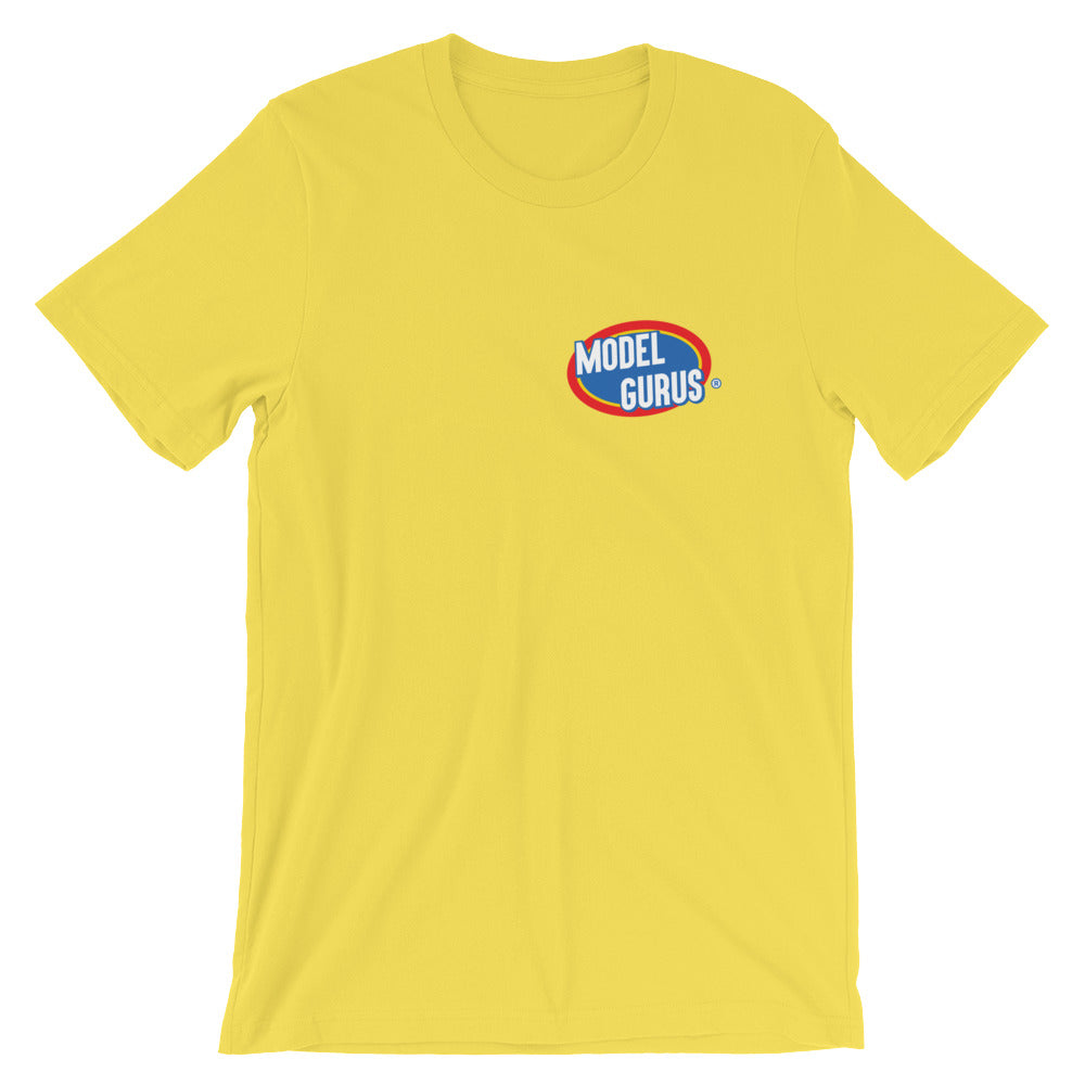"""Clorox"" t-shirt - Yellow, Black, White, Sand - Model Gurus Inc."
