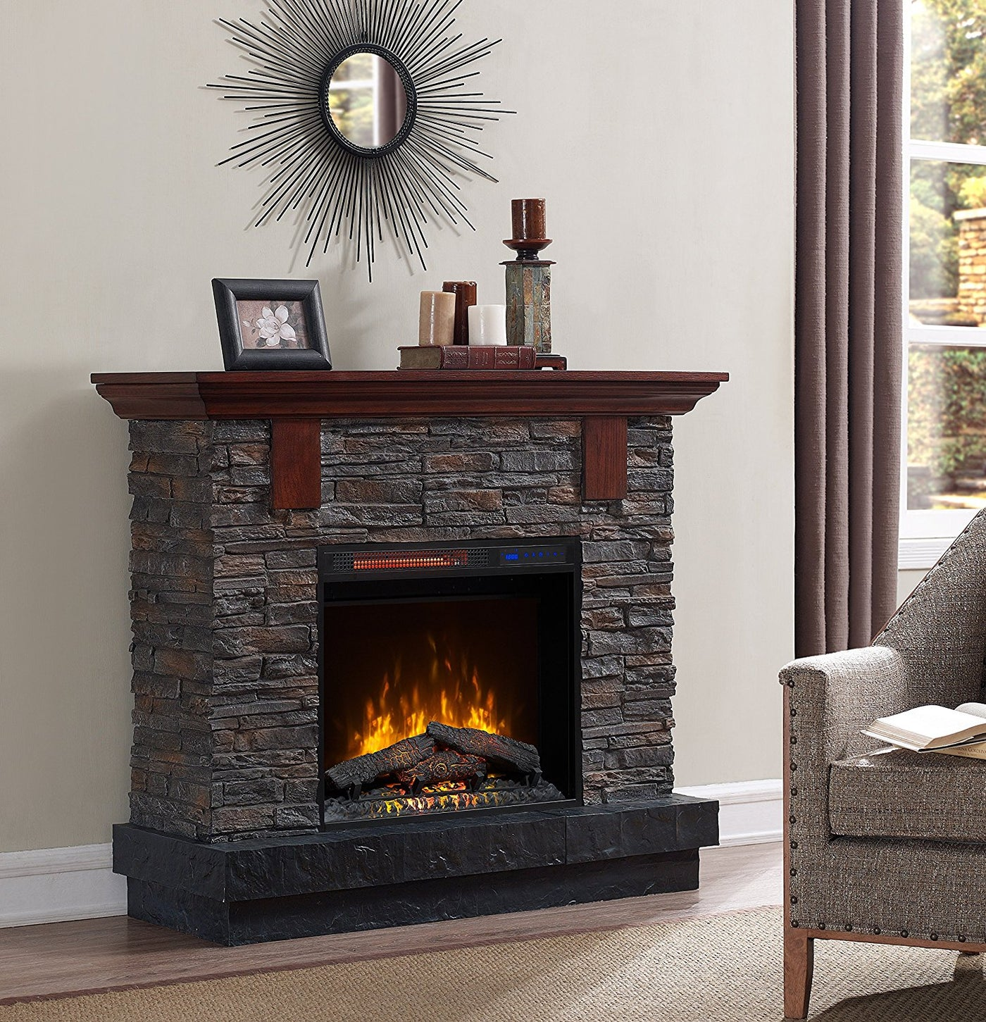 Bold Flame Cautis 46 75 Rustic Infrared Electric Fireplace