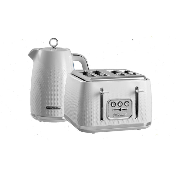 Morphy Richards Verve Textured Kettle & Toaster Set White
