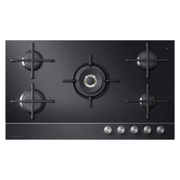 FISHER & PAYKEL 90cm Gas on Glass Cooktop - LPG - CG905DLPGB1