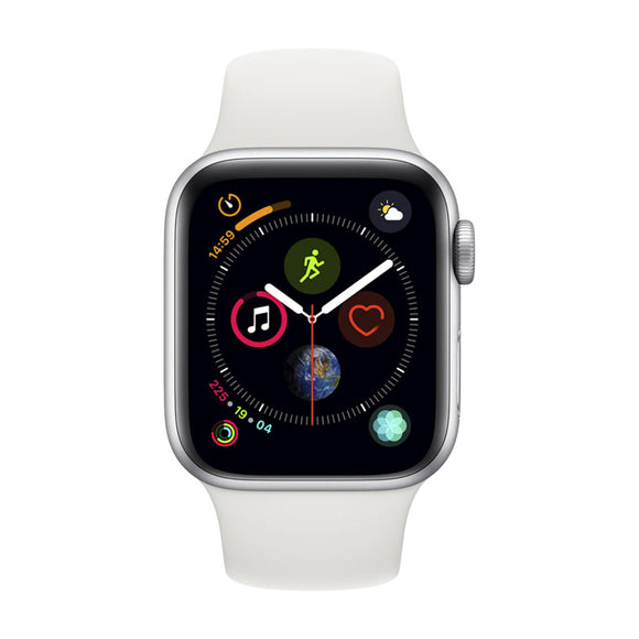 Apple Watch Series 4 GPS, 44mm Silver Aluminium Case with White Sport Band-MU6A2BA