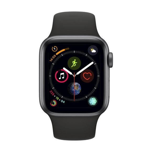 APPLE Watch Series 4 GPS, 44mm Space Grey Aluminium Case with Black Sport Band - MU6D2BA