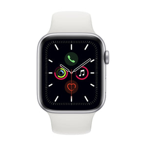 APPLE  Series 5 Silver Aluminium Case with White Sport Band GPS 44mm Watch  MWVD2B/A