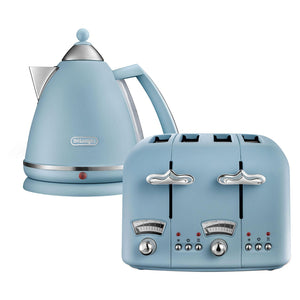 DELONGHI  Argento Flora Kettle & Toaster Set Blue-CT04AZKBX3016AZ