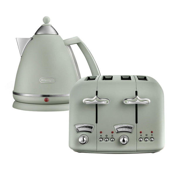 DELONGHI Argento Flora Kettle & Toaster Set Green - CT04GRKBX3016GR