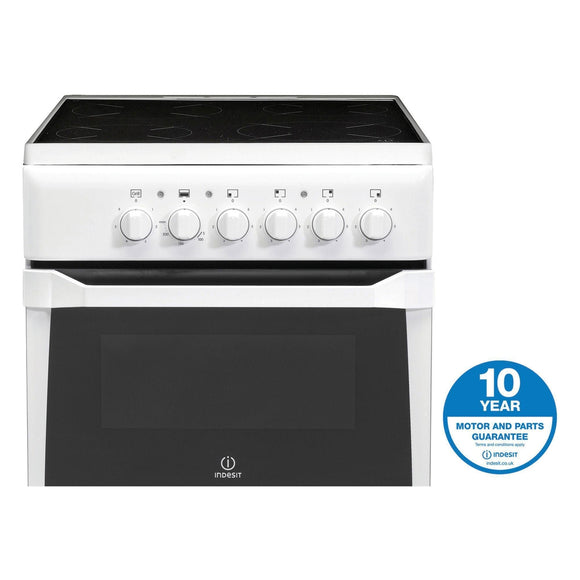 INDESIT 50cm Electric Cooker Twin Cavity Variable Grill - IT50CWS-Briscoes