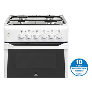 INDESIT 50cm Gas Cooker Twin Cavity Variable Grill - IT50GW-Briscoes