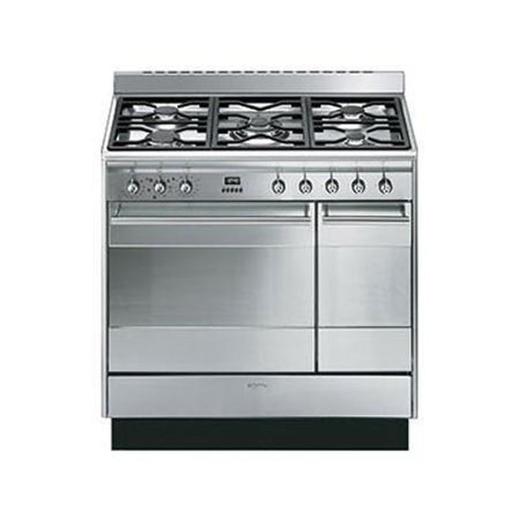 SMEG 90CM Concert Cooker with Double Oven and Gas Hob - SUK92MX9-Briscoes