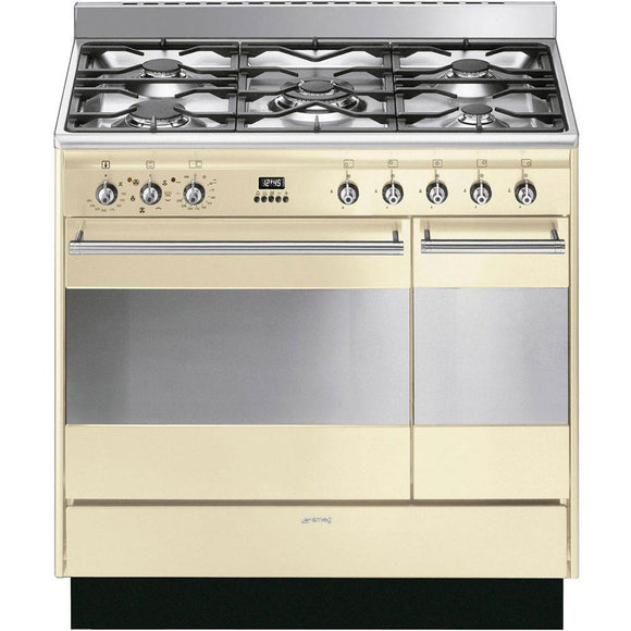 SMEG 90CM Concert Cooker with Double Oven and Gas hob - SUK92P91-Briscoes