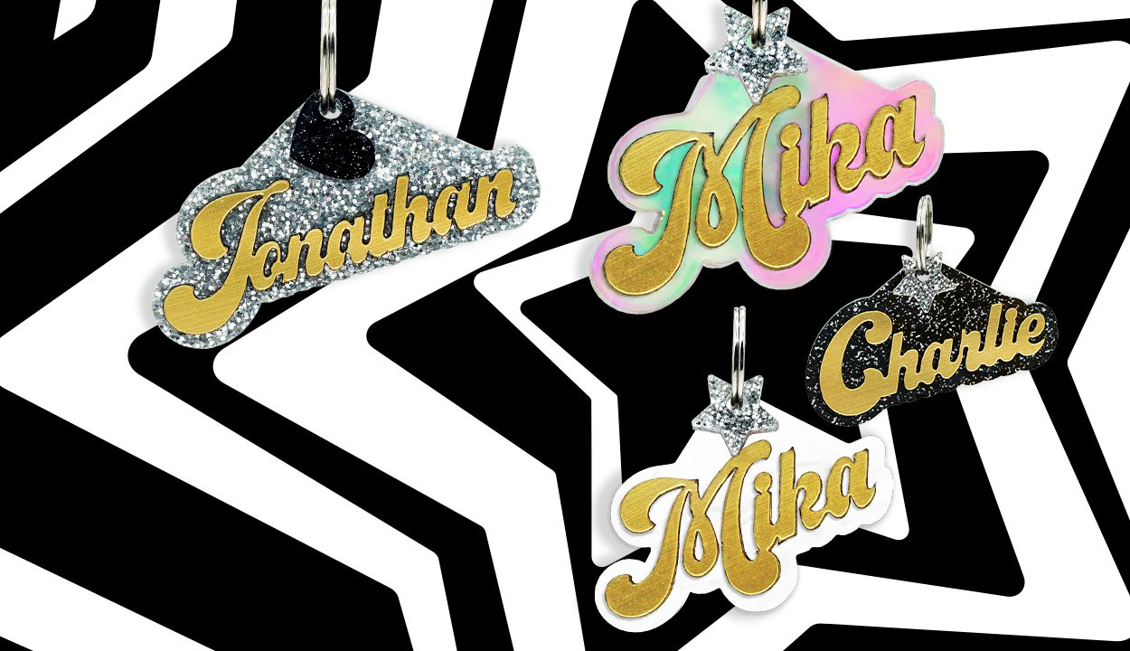 Fashion dog Tags! Customize your dog to the max with our personalized one of a kind Dog ID Nameplates. Shop Rebel Dawg's chicest collection featuring a brilliant 3D gold acrylic overlay. by rebeldawg.com