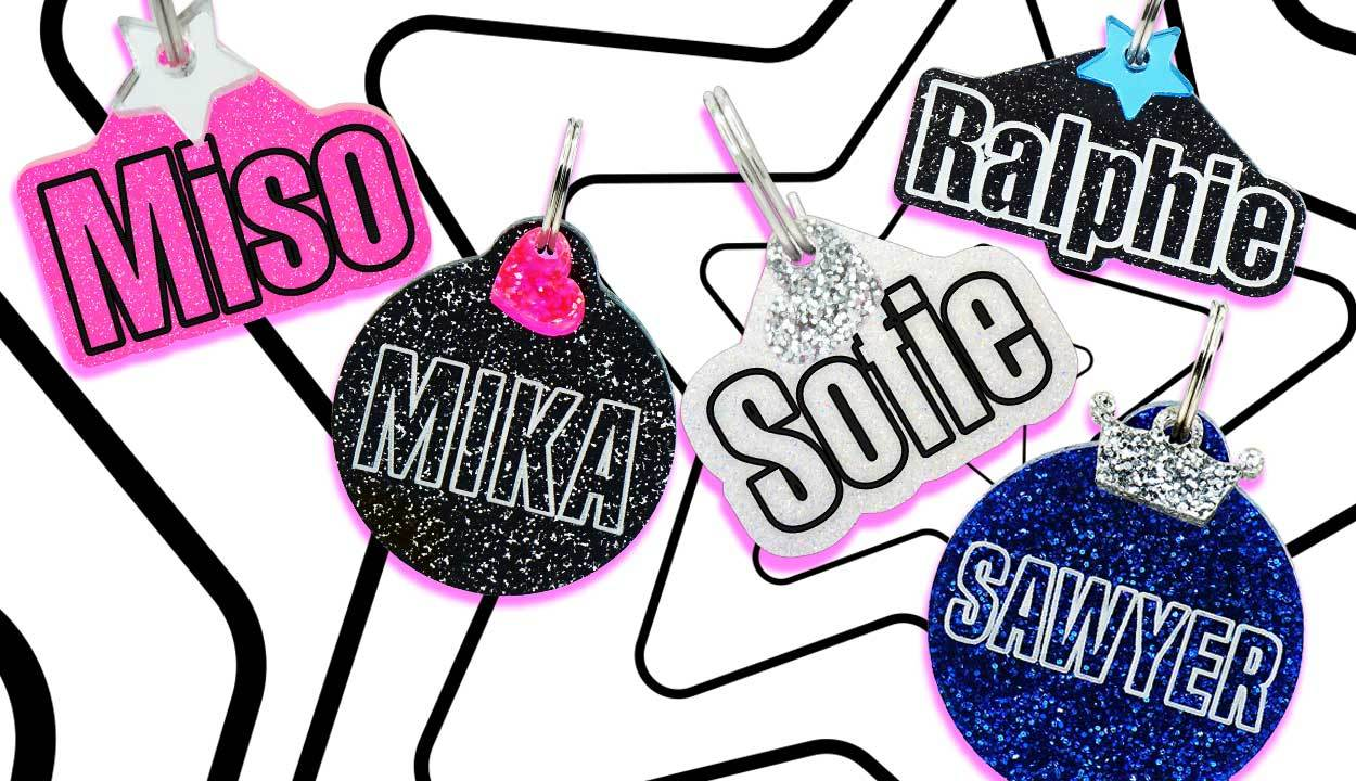 Rebel Dawg's brand new Knockout Dog ID Tags are here! Shop personalized round acrylic dog tags. Choose your color, font and charm to design a custom dog ID that that you and your dog will love to show off. by rebeldawg.com