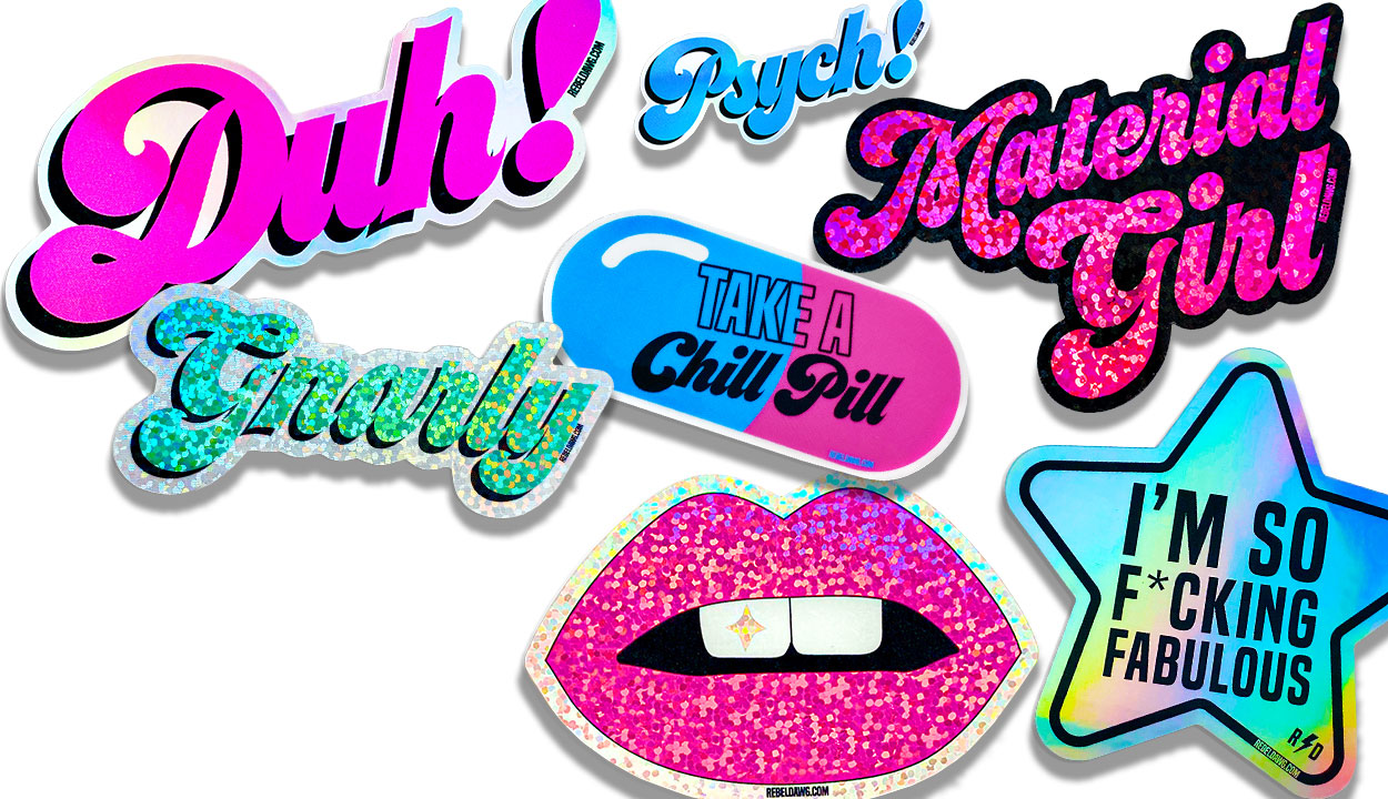 stickers hologram glitter daisy hearts rainbows by rebeldawg.com
