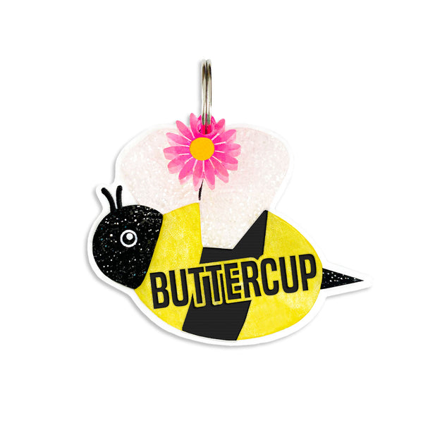 bee flowers Dog tag