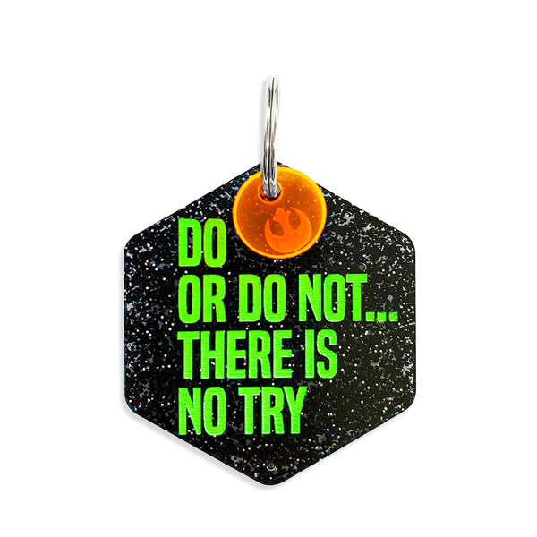 Do or do not....there is no try star wars dog tag on black glitter with free mini charm.