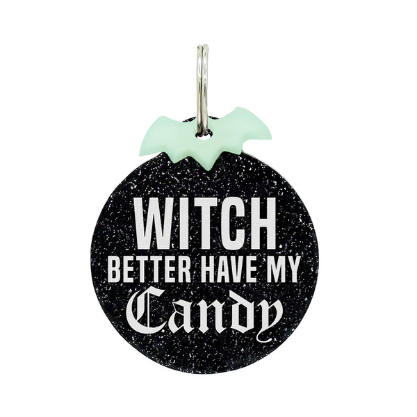 Halloween Dog tags, Witch better have my candy on black glitter with glow in the dark bat mini charm, Basic witch, witch hat shape on purple glitter with mini bat charm, kitty head shape with resting witch face and mini bat charm, Do your fang on black glitter with red glitter lips mini charm