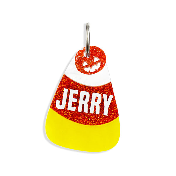 candy corn dog id tag with pumpkin mini charm