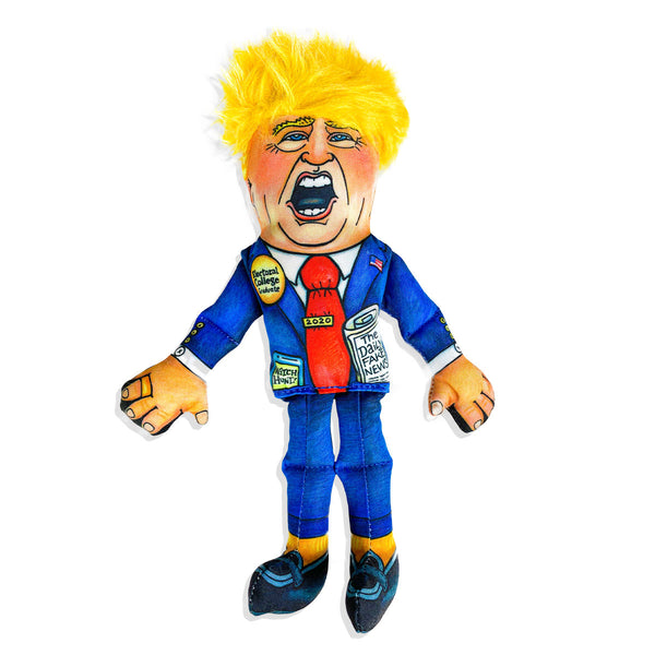 Donald trump dog toy, yellow hair, orange face, squeaky toy