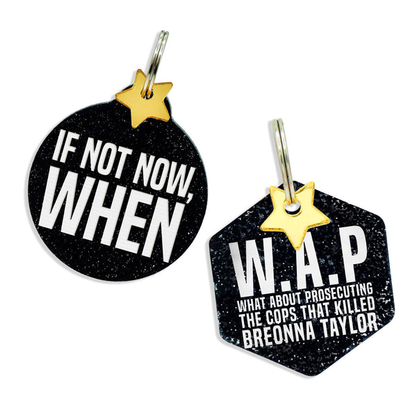 If not now, when, and what about protesting the cops that killed breonna taylor black glitter dog tags, gold mirror star charm