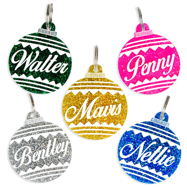 Christmas Ball Ornament dog tag with personalization.
