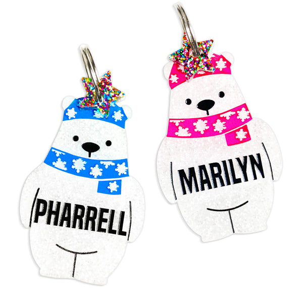 Cute polar bear id tag with free mini charm.  Pink hat option for girls, blue hat option for boys.