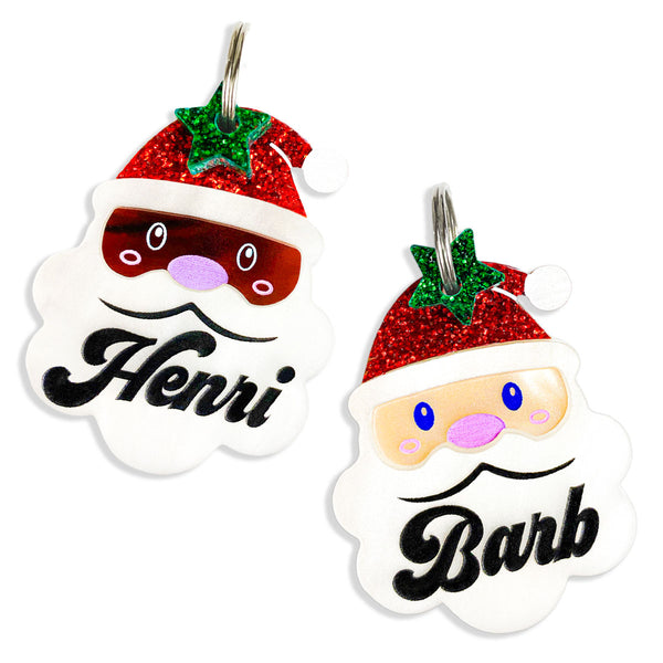 Choose from white Santa or Black Santa shaped dog tag with personalization and glitter star mini charm.