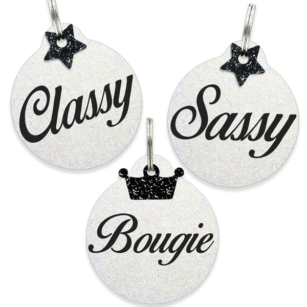 Megan Thee Stallion Classy, Sassy, Boujie,  Dog tag on white glitter glitter with star charm