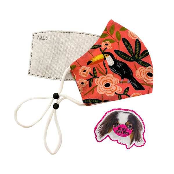 face masks, double layer, filter pocket, adjustable ear loops, 100% cotton, comes with PM 2.5 filter, gorgeous fabrics, denim, stripe, tropical, retro, ditsy floral, metallic, pink, orange, blue, cream, covis-19, wear a damn mask, protection