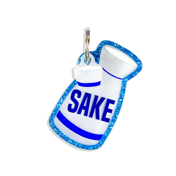 Sake dog id tag, tag in the shape of a sake container, free personalization and mini small cup mini charm.