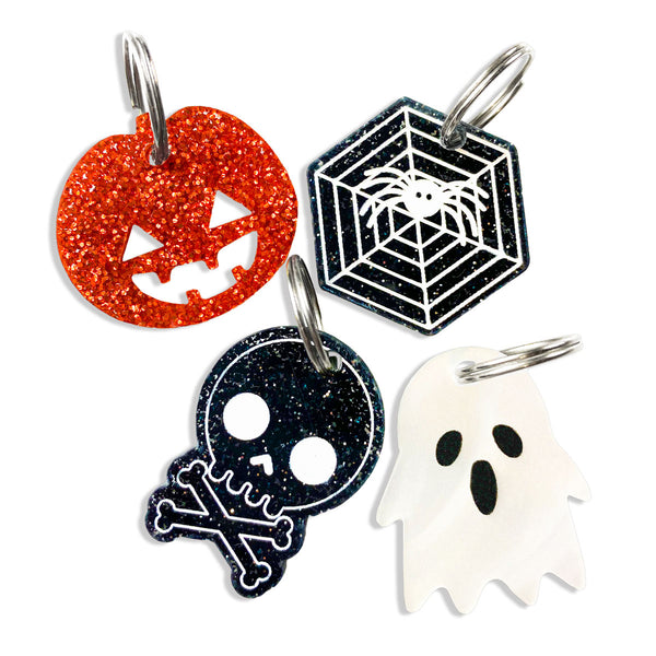 Halloween Charms, Pumpkin charm option in orange glitter, spider web option in black glitter, Skull option in black glitter and White ghost option