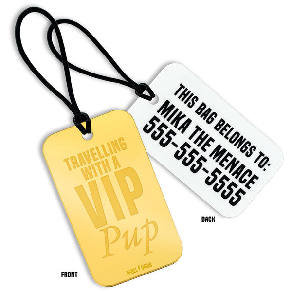 Travelling With a VIP Pup Custom Luggage Tag