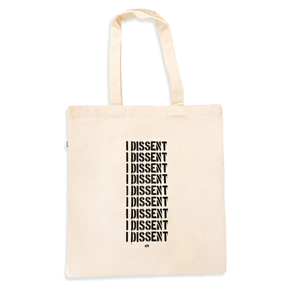 Eco friendly natural color canvas tote bag with I dissent printed on the front of the tote bag.