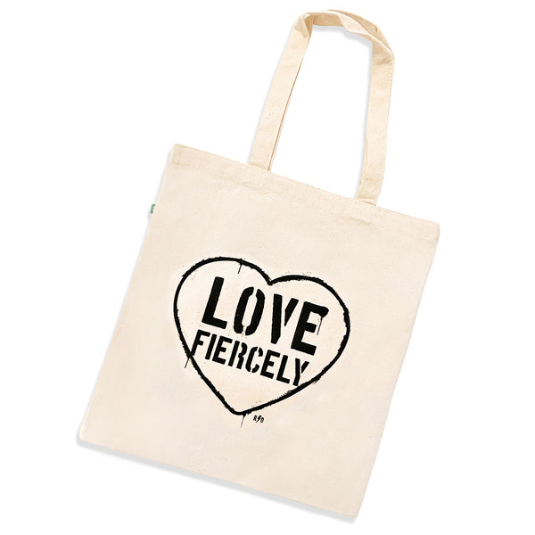 Eco friendly natural color canvas tote with Love Fiercely in a heart screenprinted on the front of the bag.