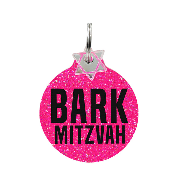 Bark Mitzvah dog tag in pink glitter with star of David Mini charm.