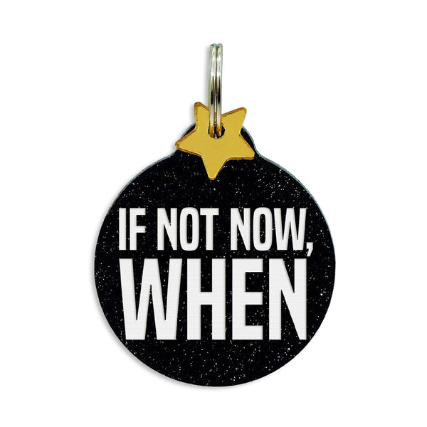 If now now, when dog tag, black glitter, gold mirror star charm