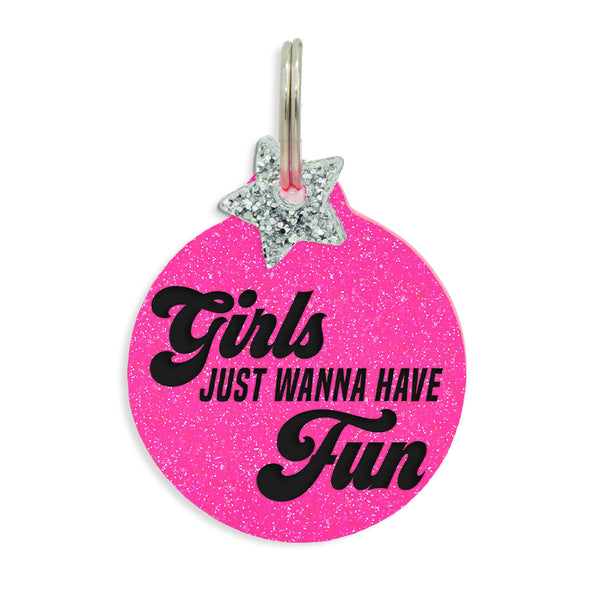 "Pink Neon Glitter Tag with star charm that says ""girls just wanna have fun"", part of our 80s inspired dog tag collection."
