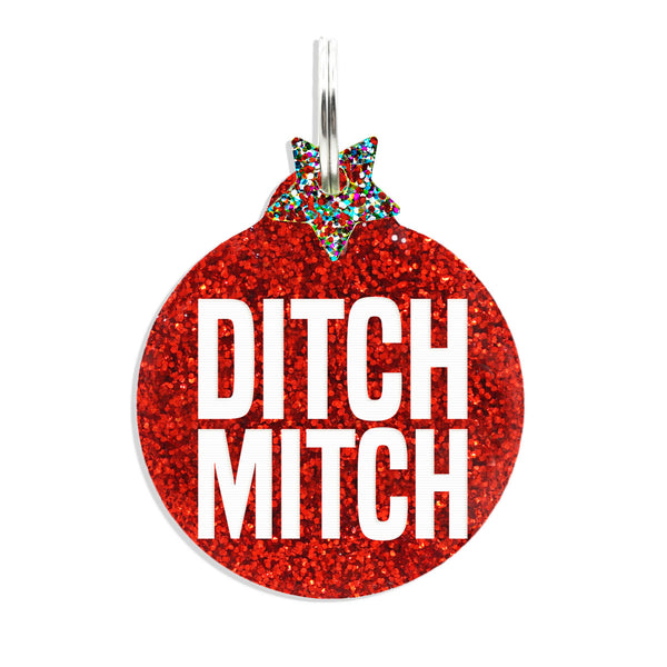 Ditch Mitch Red glitter tag with multi color glitter star mini charm