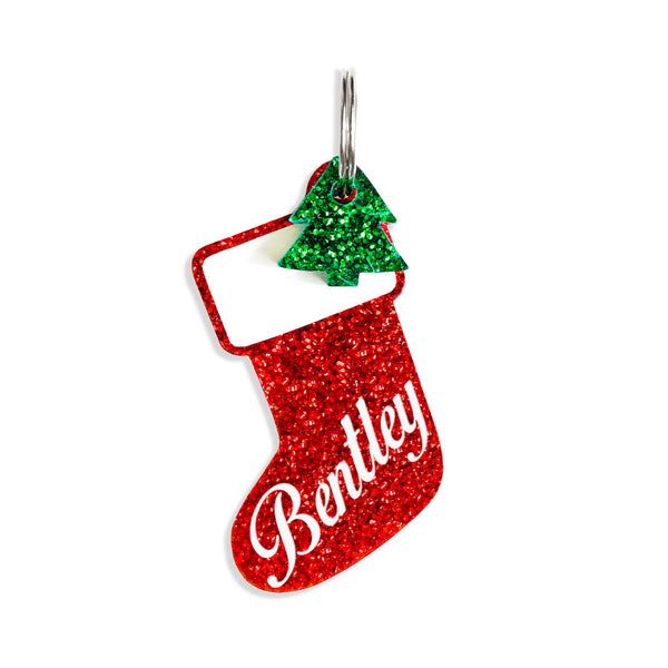 Personalized stocking tag with Christmas tree mini charm.