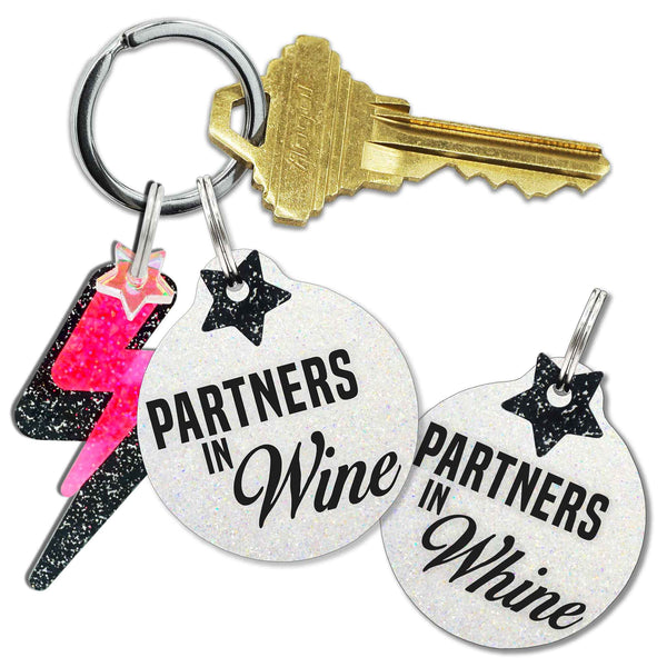 Partners in Wine/Whine Keychain and Tag Set